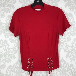 K/Lab Red Mock Neck Lace Up Ribbed Top